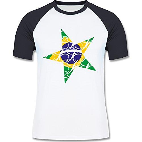 Länder - Brasilien Stern - zweifarbiges Baseballshirt für Männer Weiß/Navy Blau