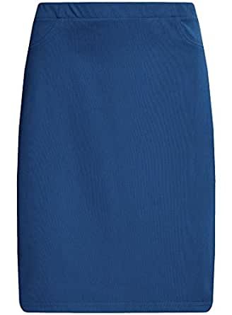 oodji Collection Damen Jersey-Bleistiftrock, Blau, DE 34 / EU 36 / XS