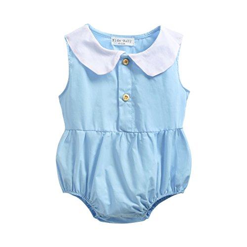 Sanlutoz Collier tricoté Bébé Filles Grenouillères Charmant Coton Nouveau née Filles Combinaison Body (6-12 Mois, BRS7044-BL)