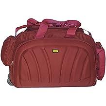 Niyara Duffle Bag 2 Wheeler, Red, Brown, Green