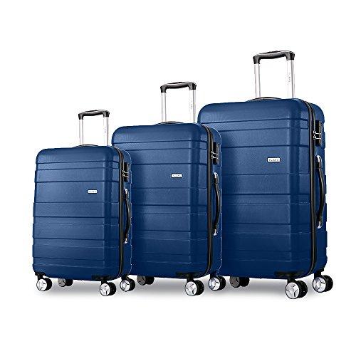 Flieks Hartschale Trolley Koffer Reisekoffer Zwillingsrollen Reisekoffer mit Zahlenschloss Handgepäck mit 4 Doppel-Rollen, XL-L-M (Dunkelblau, Set)