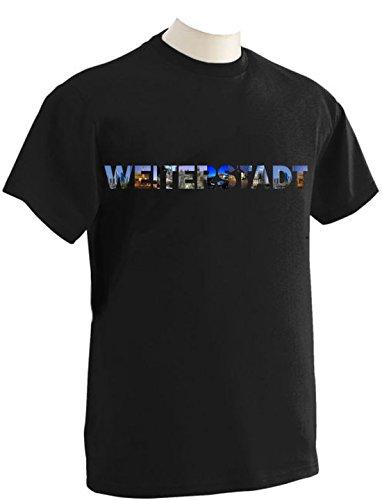T-Shirt mit Städtenamen Weiterstadt Schwarz