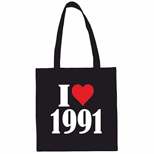 Sac à Bandoulière I Love 1991 Shopping Bag Sac d'école Sac de Sport 38x 42cm en Noir ou Blanc.. Le cadeau parfait pour votre amoureux