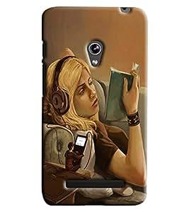 Blue Throat Girl Reading Book Printed Designer Back Cover/ Case For Asus Zenfone 5