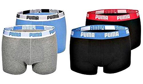 4er Pack Puma Basic Shortboxer, kurzer modischer Schnitt + sehr schneller Versand durch Amazon melange/rotblau