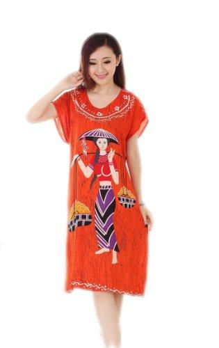 JTC Femmes kimono élégante,Pyjama Vêtement/Robe/peignoir de Nuit/de Bain/de chambre ,Pyjama,en coton Orange