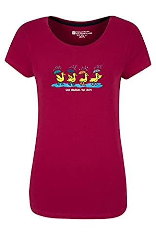 Mountain Warehouse Nice Weather for Ducks Women's Cotton T-Shirt - 100% Cotton with Lightweight & High Quality Print - Perfect for Walking, Hiking & Summer Wear Berry