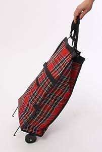 Chariot des courses cabas à roulettes trolley, pliable, 35 litres, rouge écossais