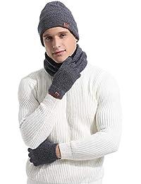 df7db24084d Abollria Scarf Gloves Hat Three Piece Suit for Women and Men Fashion Warm  Winter Hat Beanies