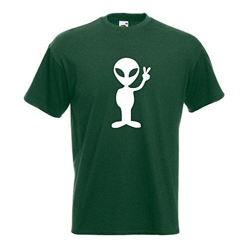 KIWISTAR - Alien Peace T-Shirt in 15 verschiedenen Farben - Herren Funshirt bedruckt Design Sprüche Spruch Motive Oberteil Baumwolle Print Größe S M L XL XXL Flaschengruen