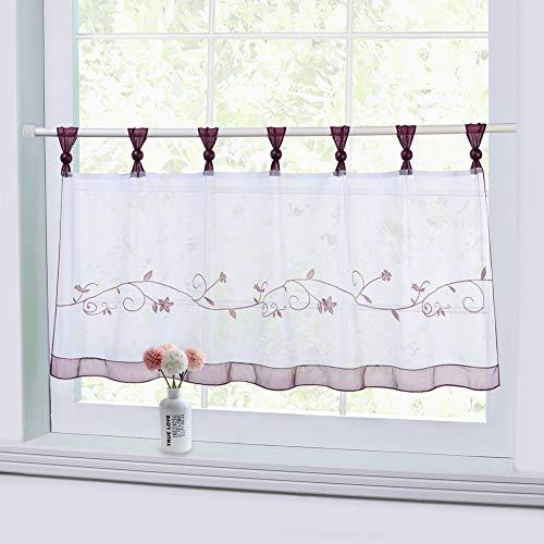 Lintimes Sheer Cafe Vorhang Fenster Tier Vorhang, bestickte Vorhang Fenster Behandlung Registerkarte Top Voile Vorhang, Tier halbe Fenstervorhänge für Küche Bad, Violett, 45 * 90 cm