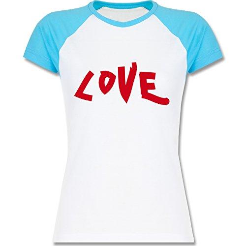 Romantisch - Love - zweifarbiges Baseballshirt / Raglan T-Shirt für Damen Weiß/Türkis
