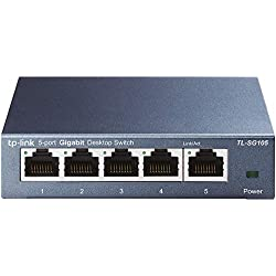 TP-Link TL-SG105 Switch Ethernet Gigabit 5 ports metallique 10/100/1000 Mbps (Vitesse jusqu'à 2000Mbps) - Garantie à vie - idéal pour étendre le réseau câblé pour les PME et les bureaux à domicile