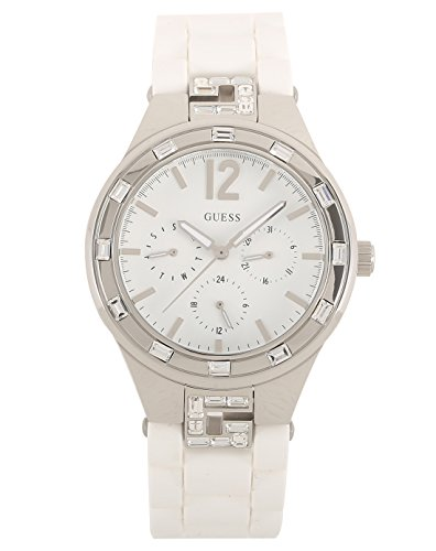 Guess W10615L1 - Reloj analógico de cuarzo para mujer, correa de acero inoxidable color blanco