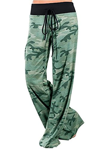 Melansay Damen Locker Palazzo Yoga Hose Tarnung Weite Bein Lange Freizeit Pyjamahose Green-Camo, M