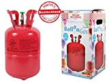 Party Factory Heliumgasflasche Heliumgas Helium Gasflasche Balloon Gas Ballongas Einweg für ca. 30 Ballons + Metallic Tattoos