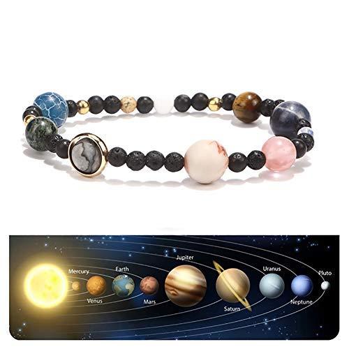 Beito 1PC Chakra Beads Bracelets Natural Lava Rock Stones Beads Bracelets Joyería Unisex 7 Chakras Pulsera Ocho Planetas Pulsera Regalo para Familias Amantes