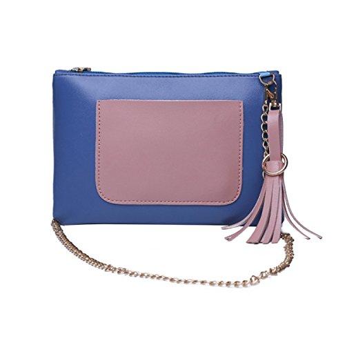 Handtaschen Kettenkoffer Messenger Bag Wilde Schulter Messenger Bag Bluepink