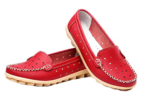 Di Grazia Womens Casual Moccasin Slip On Loafers (Red, Red-39-Womens-Loafers)