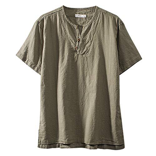 Zolimx Herren Leinenhemd Kurzarm Fashion Männer Baumwolle Leinen Einfarbig Kurz Ärmel Retro T Shirts Tops Bluse