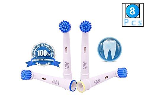 Flm 3d sensitive clean ebs17 - testine di ricambio per spazzolino elettrico compatibili con braun oral b, 8 ricambi