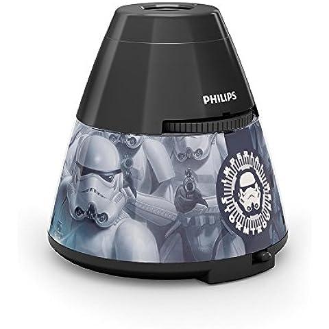Philips Star Wars Soldado Imperial - Proyector y luz nocturna 2 en 1, luz blanca cálida, bombilla LED de 0,3 W, color