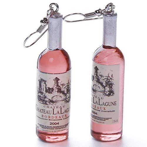Eleusine Creative Wine Bottle Shaped Brown Dangle Earring Stud Ideal Jewelry Gift for Girls Women Charm