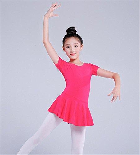 Leotard d'entraînement de ballet pour enfants confortable / manches longues / manches courtes Rose
