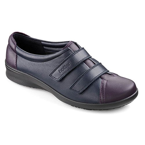 Hotter Leap Ee, chaussures avec fermeture velcro femme Navy/Loganberry