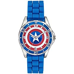 Captain America Children's Quartz Watch with Multicolour Dial Analogue Display and Blue Rubber Strap CTA3138