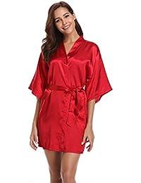 Vlazom Women Kimono Robes Satin Dressing Gown Short Bridal/Bridesmaid Robe Nightwear Oblique V-Neck
