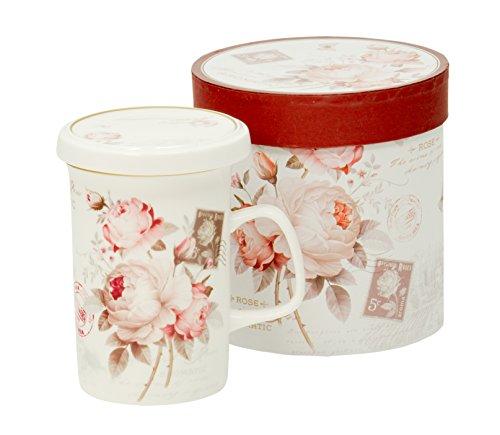 Duo Tee-Tasse Teebecher Set mit Sieb und Deckel Porzellan Kräuter-Teetasse Geschenk-Tasse Cup with Porcelain Infuser 300 ml Geschenkbox