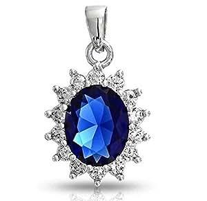 Lily Jewelry Princess Style Swarovski Elements Royal Blue Crystal Rhinestone Sapphire Necklace For Women
