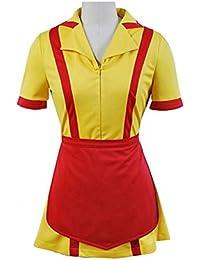 Manfis 2 Broke Girls Kostüm Kellnerin Kleid Mini und Midi