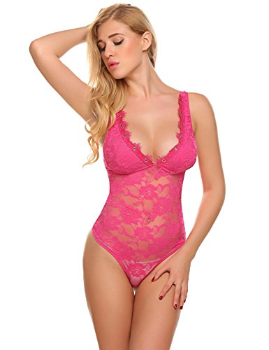 Damen Sexy Body Spitze ohne Bügel V-Ausschnitt Spitzenbody Reizwäsche Unterwäsche Schwarz Rot Lila