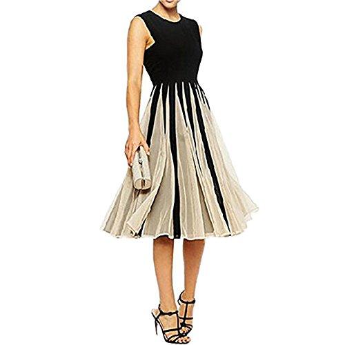 Damen Elegant Rundkragen Chiffon Lässig Cocktailkleid Minikleid ...