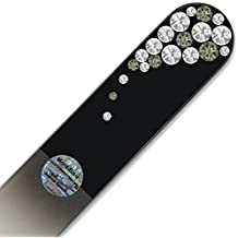 Large Crystal Nail File with Swarovski Elements, Hand Made, Czech Tempered Glass, Lifetime Guaranty, in Suede Sleeve (Crystal)