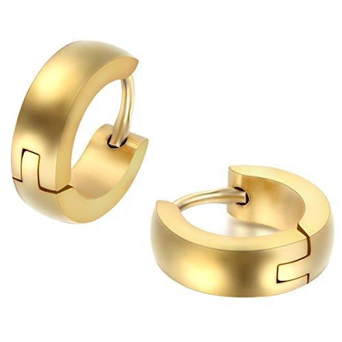 JewelryWe Schmuck Herren Damen Ohrringe, Creolen Ohrstecker, Edelstahl, Gold