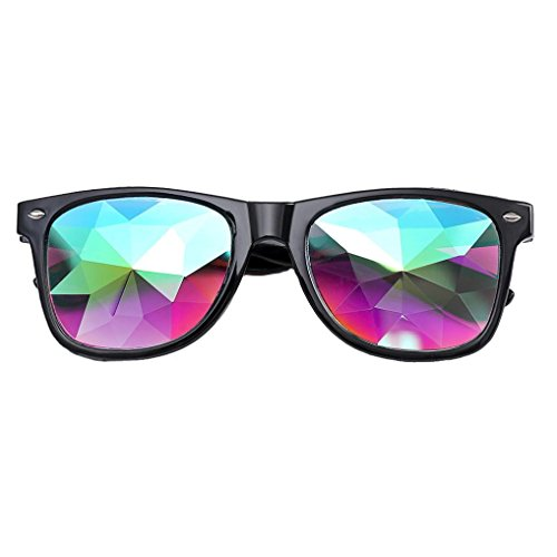 Unisex Sonnenbrille Verschiedene Farben Metall Kaleidoskop Gläser Rave Festival Party EDM Sonnenbrille Damen Herren Mode Metall Rund Sonnenbrille Retro Unisex (Free size, Schwarz) (Glas-kaleidoskop)