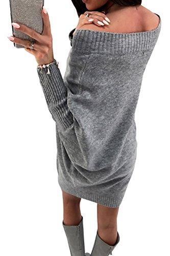 Paplan Frauen Mit langen Ärmeln lockere Pullover kleid schläger Pullover um den hals (Sexy Krankenschwester Süße Kostüme)