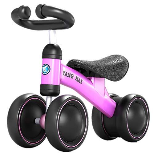 MAJOZ Kinder Laufrad 4 räder Spielzeug, Lernlaufrad Balance Bike Erst Geburtstag Geschenk Fahrrad Für Baby (Rose rot +Schwarz)
