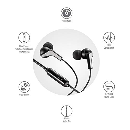 Syska HE1100 Beat Pro Wired Earphones (Black)