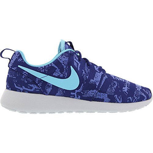 Nike Roshe Run Print, Chaussons Sneaker Femme deep royal blue tide blue pure platinum 440