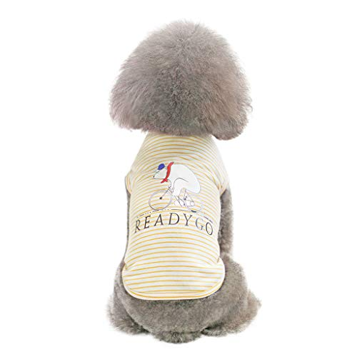 (EUZeo Schön Streifen Haustierbekleidung Sommer Frühling Haustierkleidung Kleidung für Kleiner Hund Kleine Katze Sweatshirts Weste Haustier Hündchen Kätzchen T-Shirts Pullover)