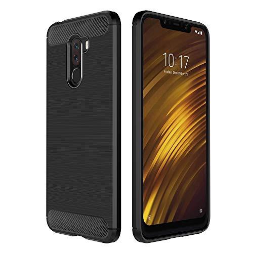 Simpeak Ersatz Xiaomi Pocophone F1 Hülle [6,18 Zoll], handyhülle Xiaomi Pocophone F1 Schutzhülle Premium Weiche Silikon Carbon Faser Elastisch Schützendes case Schwarz