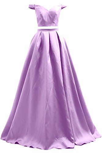 MACloth 2 Piece Off the Shoulder Long Prom Ball Gown Satin Formal Evening Dress Lavande
