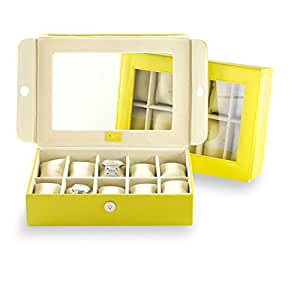 Urby Premium Leather Watch Case Watch Box Organizer Online India (10 Watches) - Citrus Yellow