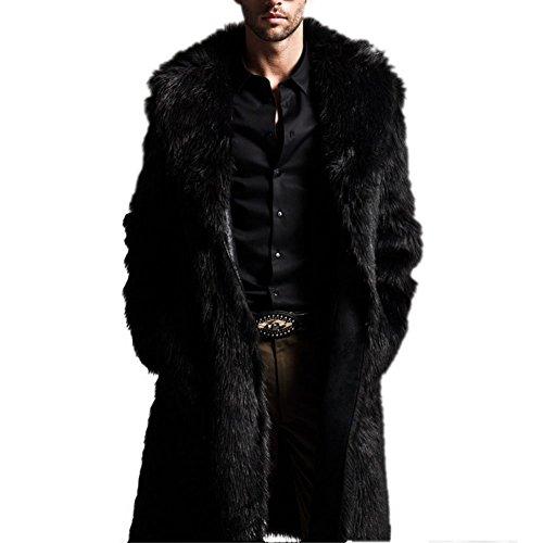 BOBORA Uomo Giacche e cappotti Warm Faux Fur Coat Parka Outerwear Long Jacket Winter Black Overcoat