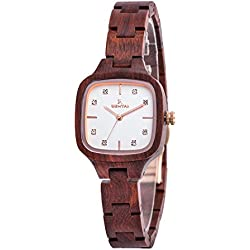 Ladies Reddish Wood Watch 28mm Square Case 12mm Bracelet Band Sandalwood Wrist Watch with Miyota Movement Color Black