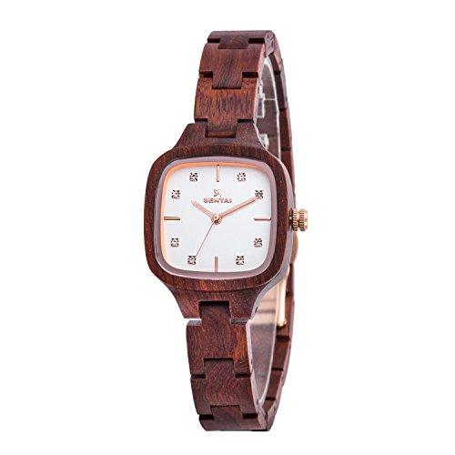 Donna rossastro legno orologio 28mm quadrati di 12mm bracciale fascia sandalo cinturino orologio con movimento Miyota color nero